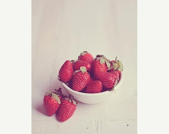 Food Photography Kitchen Art food: Bowl of strawberries Fine Art Photography, Art for Kitchen Red Fruit Still life Macro Fruit Still life
