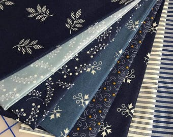 8 Civil War Reproduction Quilt Fabric Fat Quarters  - BLUE MOON ~ by Kathy Hall for Andover Fabrics -