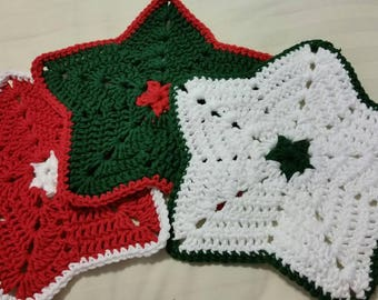 RTS- Set of 3 Christmas Star Holiday Dishcloths Traditional Hand Made Crocheted in 100% cotton yarn Dishes Clean Cleaning Household Gift