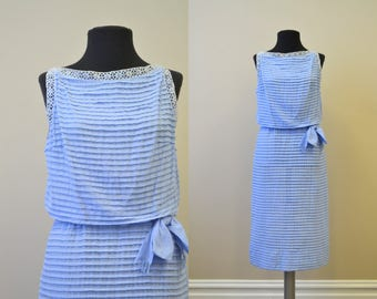 1950 Blue Pleated Dress with Lace Trim