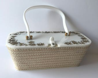 Vintage Marcus Brothers of Miami Box Bag/White Lucite 1950s Handbag