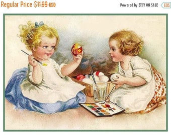 GREAT SALE Vintage Easter 2 Girls Painting Easter Eggs Counted Cross Stitch Chart / Pattern