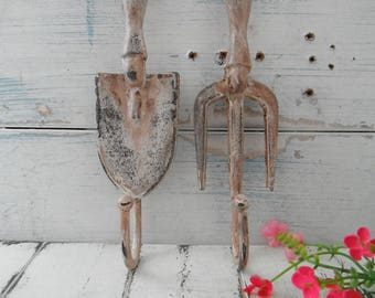 rusty wall hooks garden tool hooks french country cottage chic shabby hook coat hook set she shed decor rustic garden decor porch decor  SET
