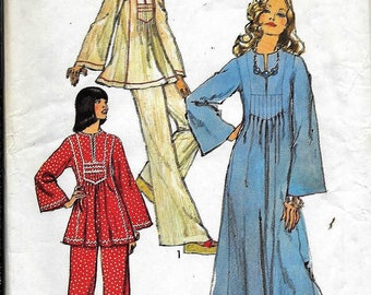 Vintage 1970s Simplicity 6044 CAFTAN DRESS Or Tunic And Pants Sewing Pattern Size 12 Bust 34