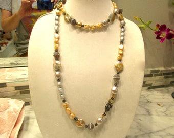 "Splendid Estate 46"" Long Genuine Baroque GOLD & SILVER Pearls, Micro Pave Crystals, LABRADORITE Necklace w/Micro Pave Clasp - Extraordinary!"