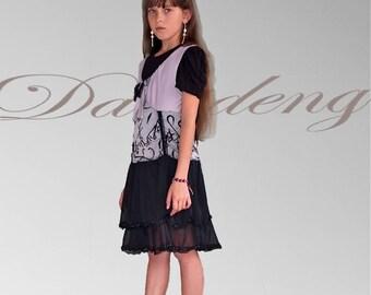 Kids grey dress / multiple /robe ruffles