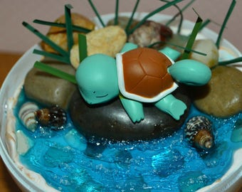Pokeball Terrarium with Squirtle, Sleeping Pokemon, Pokemon Diorama with stand, 4 inch. Custom orders are available.