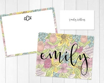 Stationary Gift Set | Floral Stationery Set | Engagement Gift Set | Personalize |  Folded Note Card | Flat Note Card |Thank You Card Set