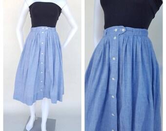Cotton Skirt / Pleated Skirt / Chambray Skirt