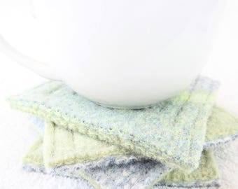 Wool Coasters / Rustic LIGHT GREEN & BLUE Coasters / Recycled Mug Rugs / Felted Wool Coasters / Ecofriendly Home Decor Gift by WormeWoole
