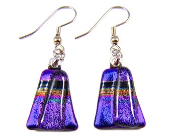 Dichroic Glass Dangle Earrings - Purple Blue Yellow Gold Striped Rainbow Patterned Fused Glass - Surgical Steel French Wire or Clip On - 1""