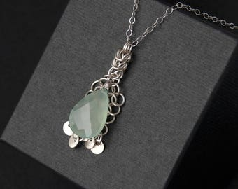 Sterling silver green chalcedony pendant. Handcrafted artisan chainmaille pendant. Gorgeous green gemstone pendant. Gift for her.