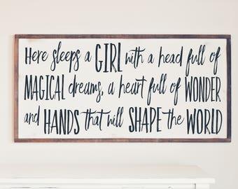 Farmhouse Rustic Wood Sign, Here Sleeps A Girl With Magical Dreams, Farmhouse Design, Nursery Decor, Girl's Room Decor, Farmhouse Nursery