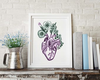 Anatomical Heart and flora Wall print Art print Botanical Art print modern Vintage Art Print heart