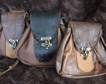 In Stock Large Economy Sporran Design Leather Belt Bag / Pouch Medieval, Bushcraft, Costume, Ren Faire, Brown Beaver