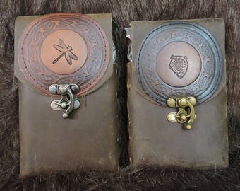 Instock 8oz Hip Flask or Cell Phone Leather Belt Pouch, Bear, Dragon Fly, Brown, LARP, Cos Play, SCA, Convention