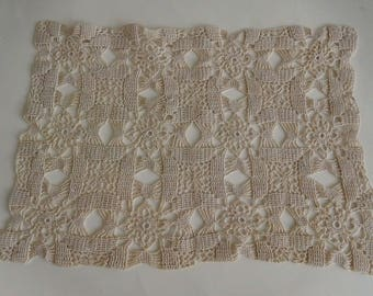 "Vintage Handmade  Crochet Cotton Lace Doily/Scarf (3 available)  -Ecru 9"" x 13""   Circa 1930s/1940s"