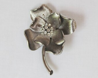 Vintage Brushed Silver Tone and Clear Crystal Flower Pin