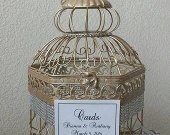 Large Champagne Hexagonal Birdcage W Bling-Wedding card holder