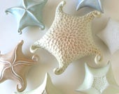 Porcelain starfish in yellow & peach with curly tendrils, carved, sea star, wall decor