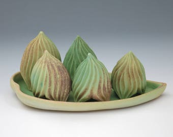 Green carved porcelain 5 pod collection with green & tan tray