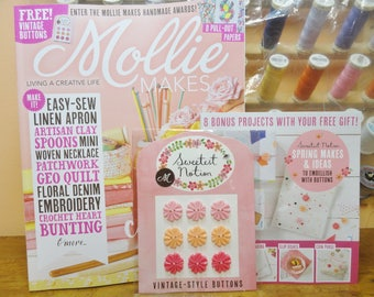 Mollie Makes, Handmade Crafts, MollieMakes Issue 79, Vintage Style Buttons, New Mollie Makes Magazine