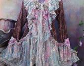 20%OFF wildskin, fantasy, bohemian jacket,pink crochet,boho top, gypsy jacket, gothic, tattered, shabby, hippy coat,  bohemian,stevie nicks