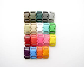 """Plastic Buckles 3/8"""", 19 Different Colors to choose from. Perfect for Paracord Bracelets. Contoured Side-Release."""