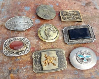 8 Vintage Belt Buckles / Limited Editions / Capt Hawks, Great American Buckle / Numbered / Wear or Re-Sale (DR4)