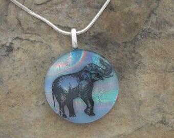 Elephant Necklace Dichroic Fused Glass Jewelry  Elephant Pendant