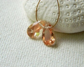 Matched pair Brilliant PEACHY SCHILLER one of a kind rare focal Oregon Sunstone faceted fancy concave pear briolettes beads 10.5mm x 6.5mm