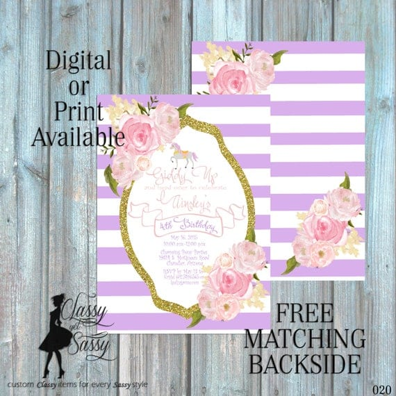 Carousel Horse Birthday Party Invitation, Pony Party, Purple Glitter Party Invitation, DIY Print Party Invitation, Tween Birthday invite 020