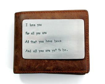 Aluminum Wallet Insert Card - Personalized Hand Stamped Metal, Gift, Husband, 10, Ten Year, Anniversary, Boyfriend Gift, Gift for man