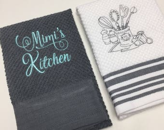 Mimi's, Gigi's, or Nana's kitchen hand towel set - kitchen hand towels - house warming gift - Christmas gift - stocking stuffer