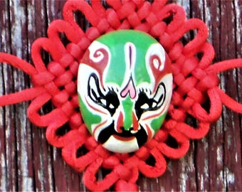 Red Chinese Tassel Macrame Painted Clay Mask