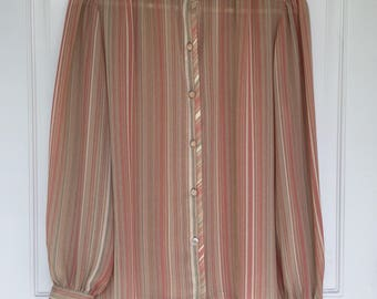 Women's vintage 80's sheer pink, tan, wite and green striped long sleeve button down blouse
