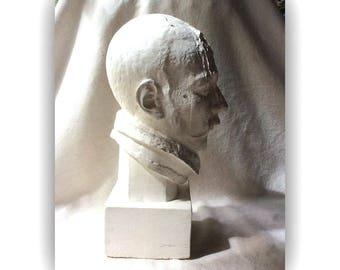 MidCentury Sculpture-Artists Plaster Bust of a Handsome Chap-GentlemanlyPursuits