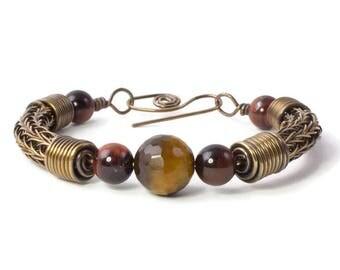 Bronze Viking Knit Bracelet, Tiger's Eye Bracelet, Small Wrist, Bronze Jewelry, Torque Bracelet, Woven Wire, Bronze Wire Bangle