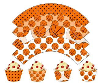 Basketball Cupcake Wrappers, Printable Cupcake Wrappers,Basketball Theme Party Decor - Instant Download-DP440