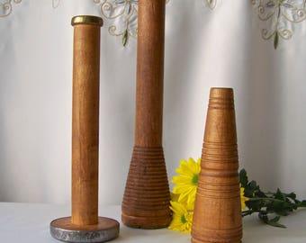 Vintage Wood Yarn Spools Textile Yarn Bobbin Spool Wood And Metal Spools Textile Industrial Decor Weaving 1940s