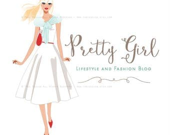 Pretty Girl Character Illustrated Premade Logo design- Fashion and Lifestyle Blog- Fashion BLOGGER