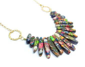 Chunky Stone Gold Statement Necklace