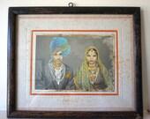 Wedding Photo of Couple in India Handpainted Photo Midcentury India