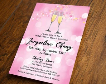 Print Your Own - Champagne Bridal Shower Invitation, Pink Bokeh