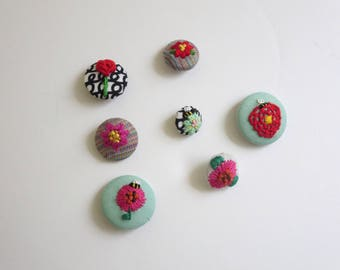 Hand Embroidered Fabric Covered Buttons Flower Embroidered Accessories