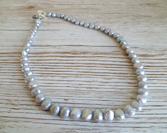 Pearl Necklace Silver Grey Fresh Water Pearls Single String with toggle clasp UK made