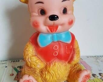 Kitsch Vintage Rubber squeak toy Teddy Bear waistcoat bowtie hat blue red nursery decor  collectable kitsch decor baby shower mobley?