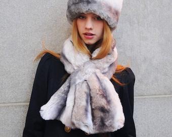 Tissavel Faux Fur Scarf in Light Chinchilla