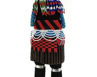 Zulu Beaded Doll with Red Headdress South African Art 111382