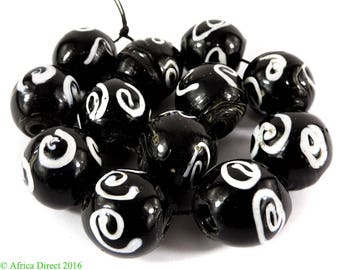 12 Zen Venetian Trade Beads Black and White Loose Africa 109154